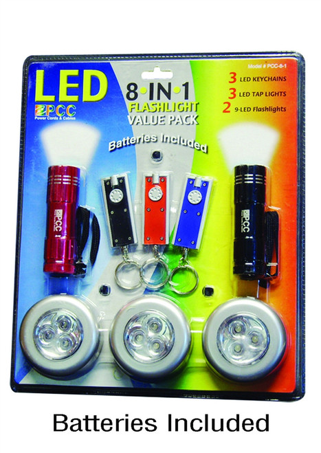 ✅ 5 SETS - LED 8in1 Flashlight Value Packs - You get FIVE of these - FREE s/h