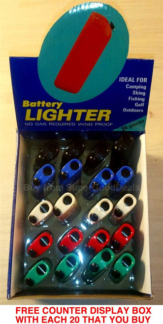 AAA Battery Cigarette Lighters - Flameless, Windproof, No Gas, GasLess, 100% Electric, Ideal for Motorcyclists, Visually Impaired, Elderly, Prisons, Industrial Plants, Camping