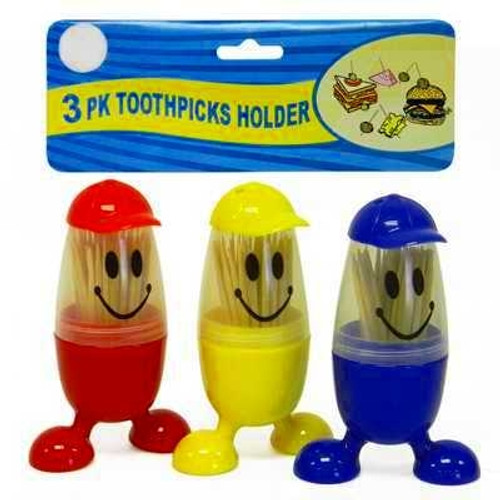 3-Pack Baseball Guy® Smiley Face Toothpick Holders