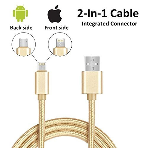 6ft 2in1 Gold Braided Heavy Duty iphone Apple iOS  /Android USB Cable  Fits all