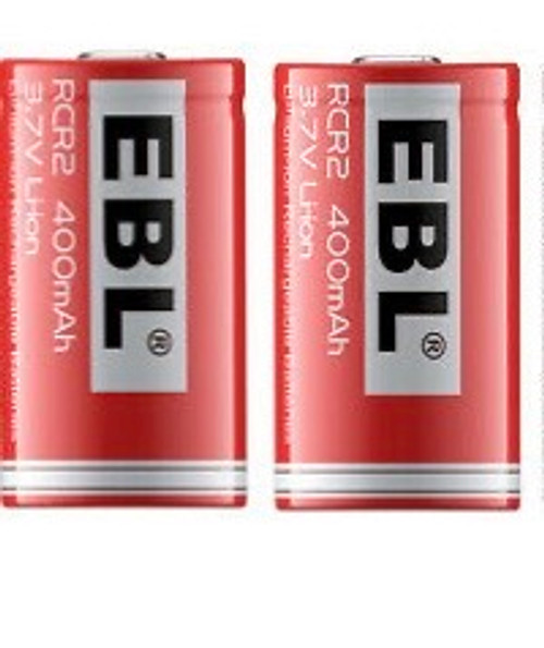 ✅2-Pack / EBL Brand Rechargeable Photo Lithium 3.7v CR2 400mAh Batteries -Re-Use