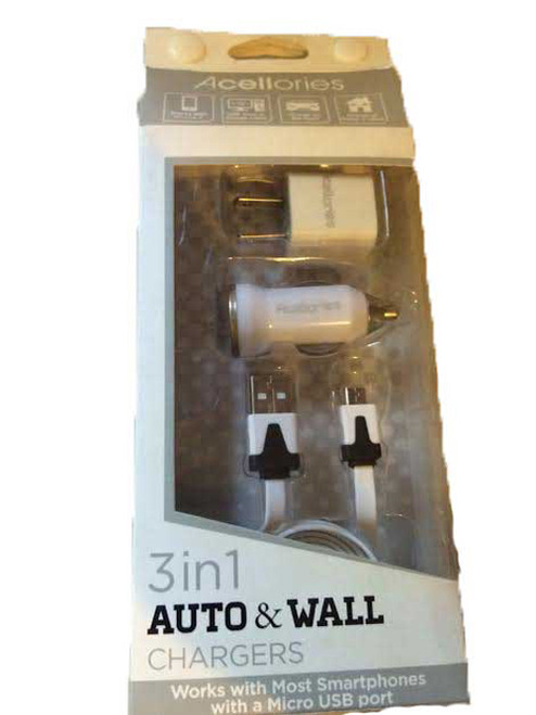 Acellories 3in1 Home Car Gift Box Set Chargers w/3ft Cable -WHITE
