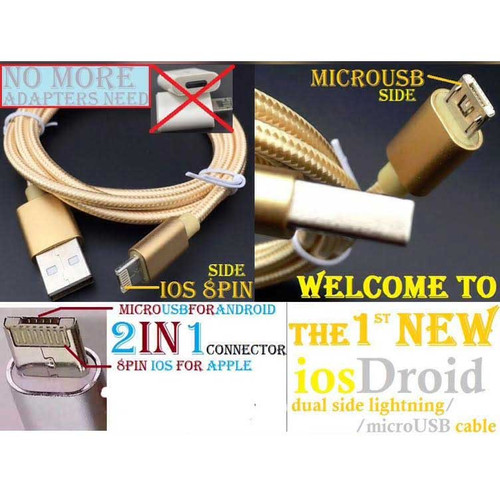 3ft 2in1 Gold Braided Heavy Duty iphone Apple iOS  /Android USB Cable for:  Fits