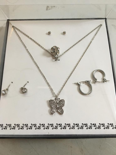 Womens Fashion Double Necklace 3 Earring Set (Butterfly Style)