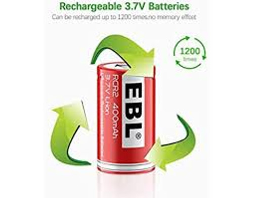 One EBL Brand Rechargeable Photo Lithium 3.7v CR2 400 mAh Batteries - Re-Use 500