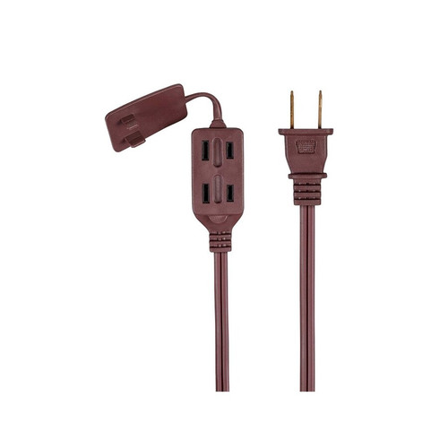 12ft Brown HouseHold Extension Cord Power Cord w/ 3 Outlets
