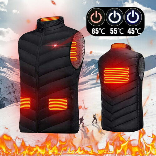 ✅USA SELLER: SoftComfy Quilted 4Zone Heated Collared Vest (S-M-L-XL-2XL-3XL-4XL)