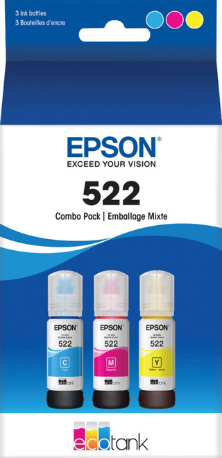 3-PK GENUINE Epson EcoTank 522 - C/Y/M Combo Pack - Sealed Box Exp. 4/2024