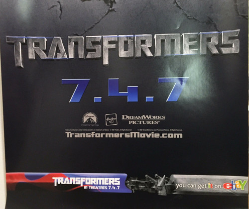 "TRANSFORMERS Poster 13 1/2"" X 40"" eBay promo ""TRANSFORMERS"" 7/4/07"