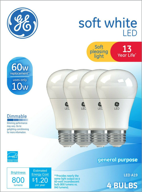 ✅GE LED 60W~10W SOFT WHITE DIMMABLE LIGHT BULBS 13 yrs LIFE - 4 Pack - FREE S/H!
