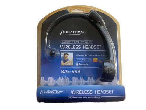 ✅ BLUEACTION Wireless Headset - BlueTooth - Pilot Over-Head Style - BAE-999