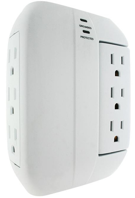 ✅ 6 OUTLET Wall Tap w/1000 JOULES SURGE PROTECTION+Swivel Function-Space Saver