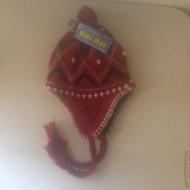 Unisex Kids Hat With Pom Pom RED