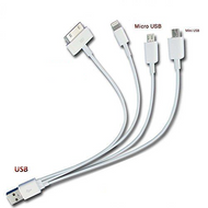 """Amazing 4-in-1 Combination Charging Cable (8""""):   Apple iOs Lightning/lightening, Apple iOS 30pin, Android Micro USB, Mini USB"""