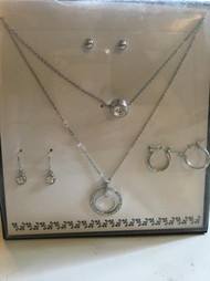 Womens Fashion Double Necklace 3 Earring Set (Double Circle Style)