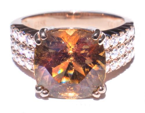 Rare Peach Tourmaline & Diamond 18K Ring