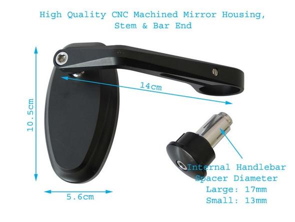 Black CNC Machined Bar End Mirrors    Motorcycle Bar End Mirror    Sport Bike   Classic