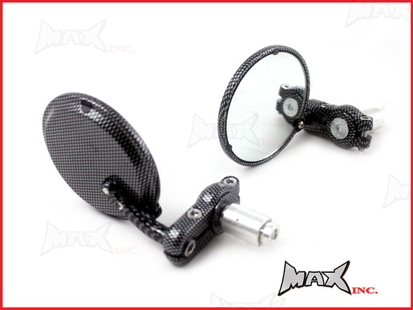 Pair Of Carbon Pattern Round Bar End Mirrors