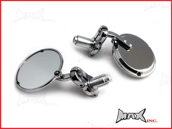 Pair Of Chrome Round Bar End Mirrors