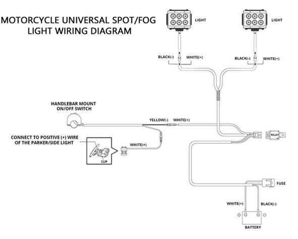 Universal Motorcycle Spot Light  | Fog Light Wiring Kit  w/switch Heavy Duty