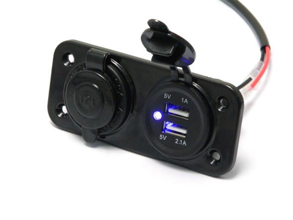 Universal 12v Fairing Mount Socket | Twin USB Power Supply