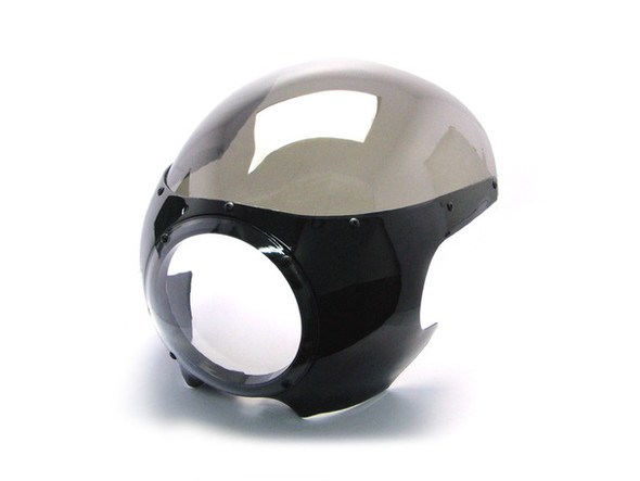 Black viper cafe racer headlight fairing and  windshield.  This headlight fairing is perfect for those looking for that classic cafe racer or drag racing look.  It is universal and can be fitted to most motorcycles.   Mounting hardware is supplied but you may have to be creative to install..if I can do it I know you can!!.  Specifications ABS plastics fairing  Smoked windshield  Clear headlight cover  Universal fitment dimensions - please see photos