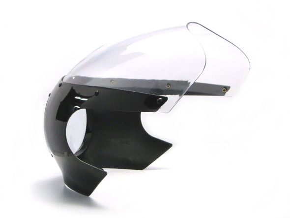 Black Cafe Racer Drag Racer Motorcycle Fairing | Clear Windshield | W/Hardware