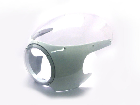 Motorcycle Bullet Fairing | White Retro Racer Bodywork  | Clear Windscreen |