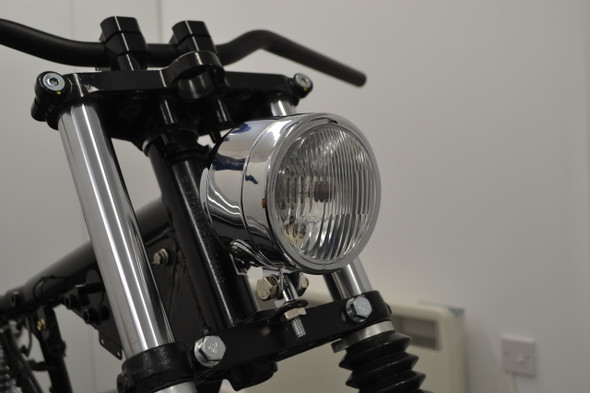 "4.5"" Chrome Motorcycle Headlight   Bottom Mount   H4  Halogen"