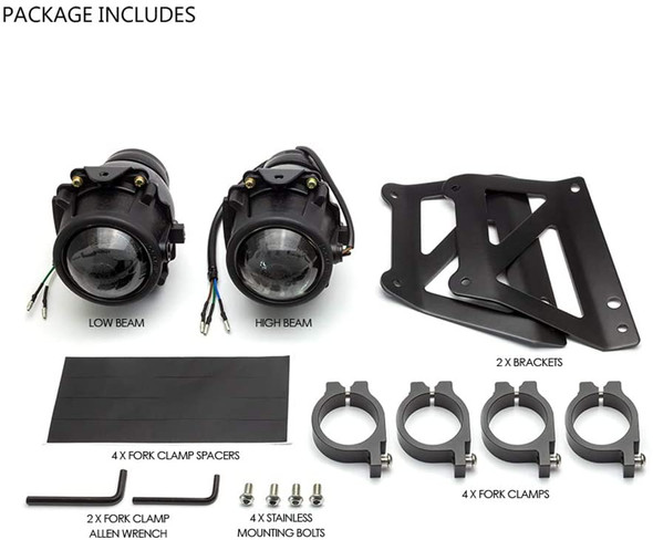 Motorcycle Dual Stacked Projector Headlight |  E Marked  | DOT Approved
