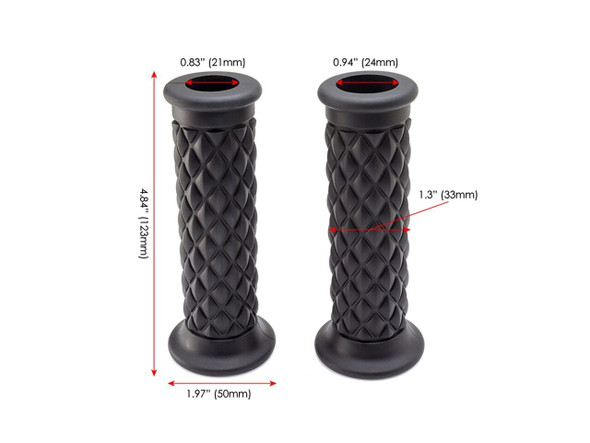 "Black Diamond Cut  Handlebar Grips |  7/8"" (22mm) Motorcycle Grip 