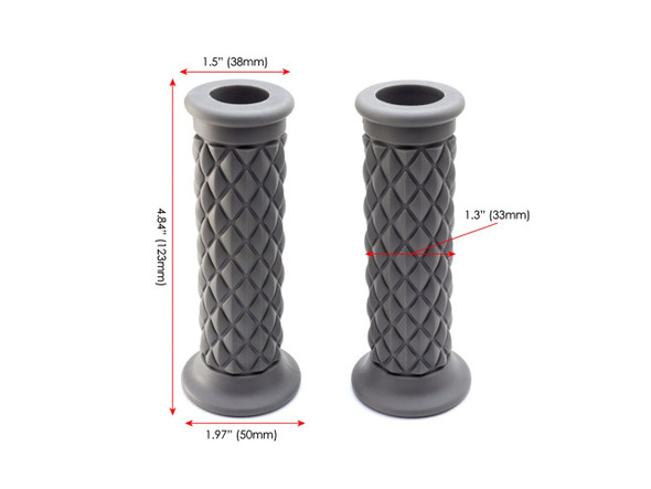 "Grey Diamond Cut Handlebar Grips | 7/8"" (22mm) Motorcycle Grip 