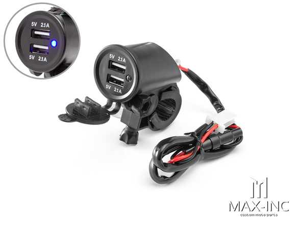 Universal Handlebar Mount Twin USB Power Supply - Fits 22-25mm Bars
