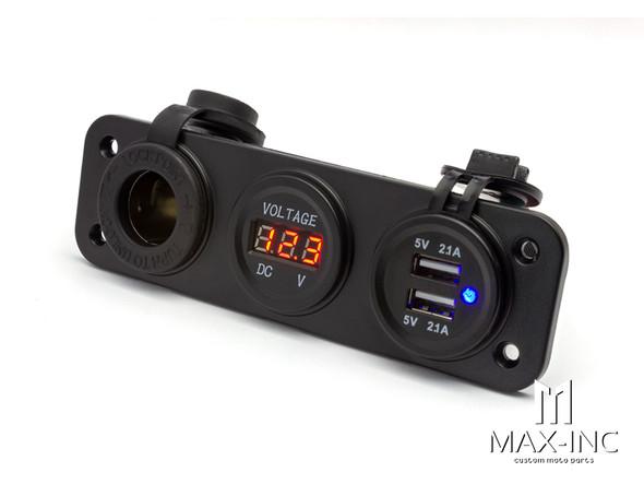 Universal Panel Mount 12v Socket + Twin USB + Voltmeter Power Supply