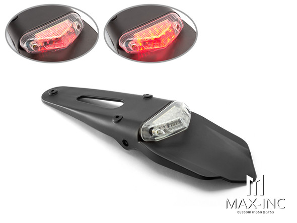 Universal Supermoto Rear Fender LED Stop / Tail Light - Clear Lens