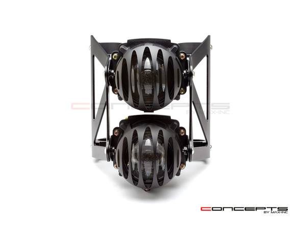 Black Dual Stacked Slicer Grill Streetfighter Projector Headlight Set - Fits Fork Sizes 32 - 59mm