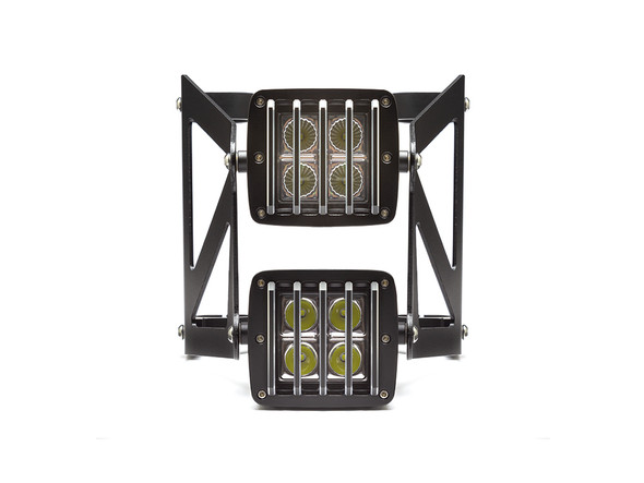 Black Vent Grill Cube Dual Stacked LED Headlight Combo  - Available Fork Clamp Sizes 32mm To 59mm