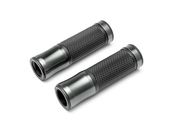 "Retro Gun Metal Grey Anodized CNC Machined Aluminum / Rubber Hand Grips - 7/8"" (22mm)"