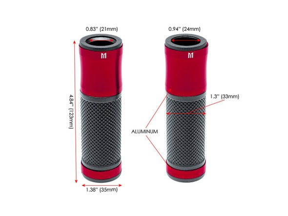 "Retro Red Anodized CNC Machined Aluminum / Rubber Hand Grips - 7/8"" (22mm) Motorcycle grip"