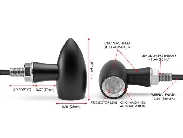 Black w/Aluminum Bezel Motorcycle Turn Signal Kit