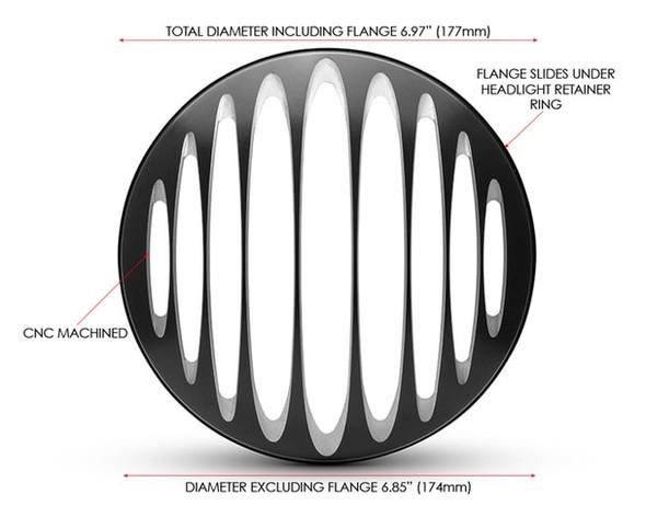 "Slicer Grill Design 7"" Black CNC Aluminum Motorcycle Headlight Guard Cover"