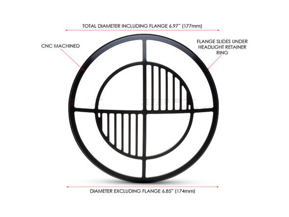 "Beemer Grill Design 7"" Black CNC Aluminum Headlight Guard Cover"