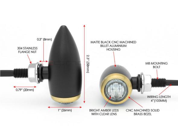 Black CNC Billet Turn Singal Indicator Alumnuim LED Micro Bullet Motorcycle