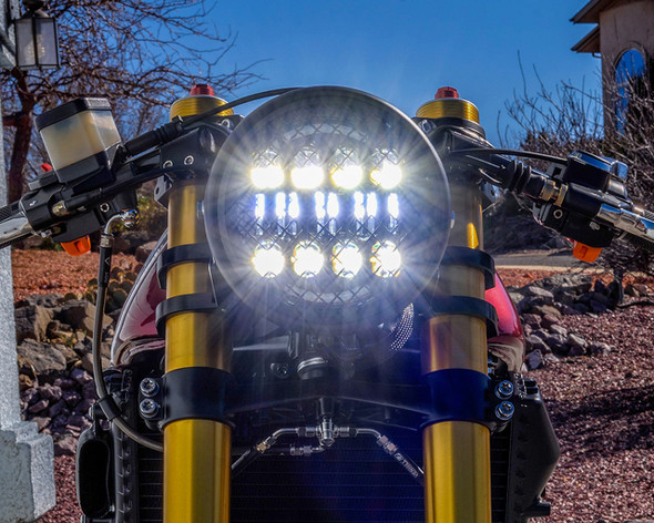 """Wire Mesh Motorcycle Headlight   7"""" Lens 7.75"""" overall  LED Projector -   Good lord it is bright"""