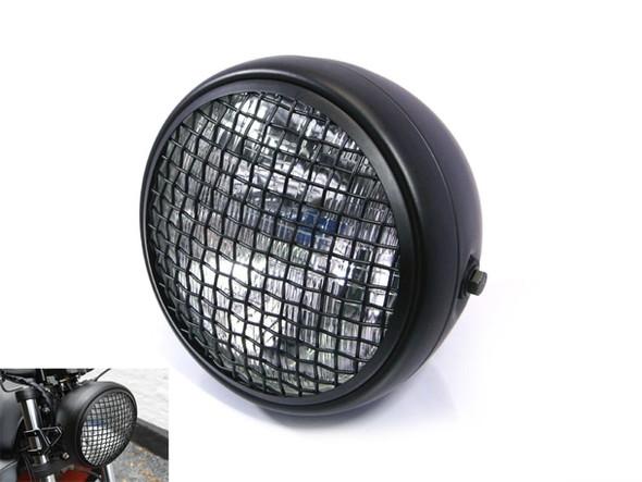"Wire Mesh Motorcycle Headlight Black 7"" Lens  H4 DOT"