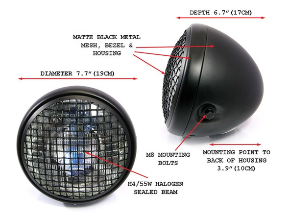 """Wire Mesh Motorcycle Headlight     7"""" Lens  H4 DOT   7.75 """" overall ID"""