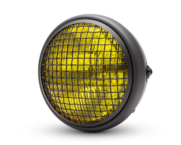 "Wire Mesh Headlight Black 7"" Yellow  Lens 7.75"" overall H4 DOT motorcycle Motorbike"