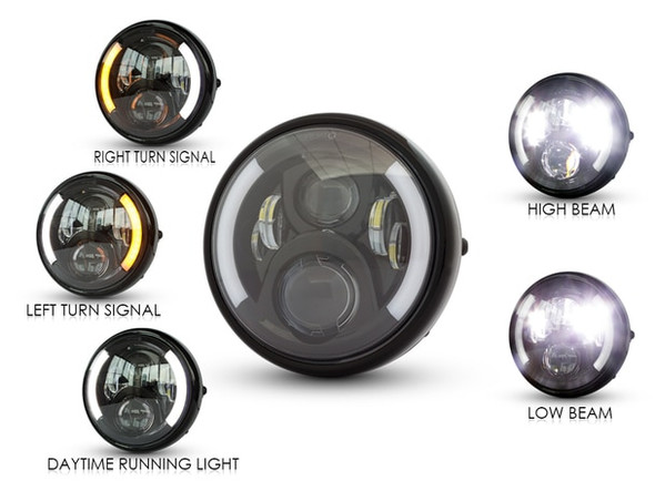 "7"" LED Projector Headlight Lens 