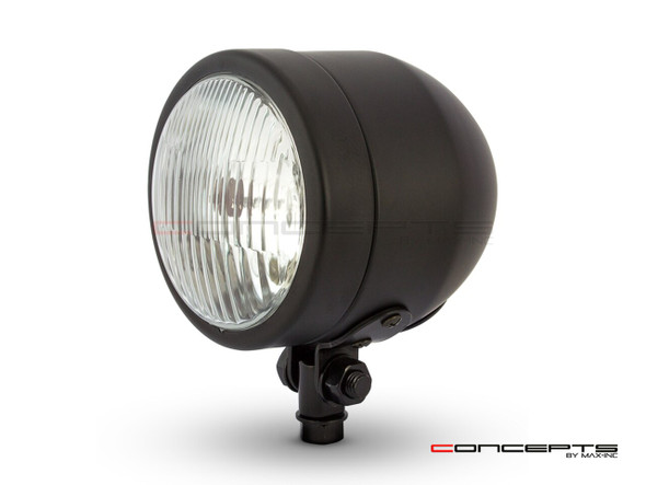 4.5 Matte Black Motorcycle Headlight Metal 12V Cafe Racer Chopper