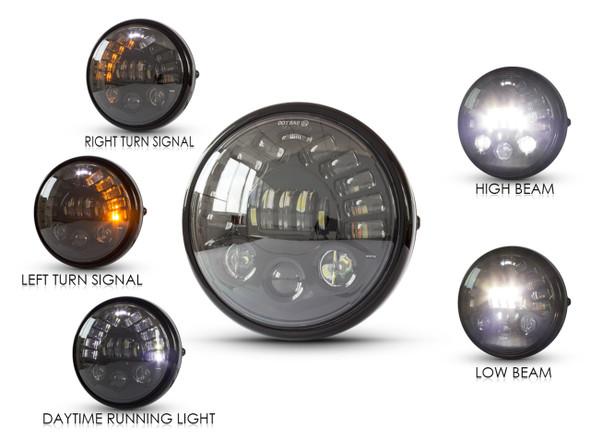 LED Motorcycle Headlight | W/Integrated turn signal  | Black Steel Bucket
